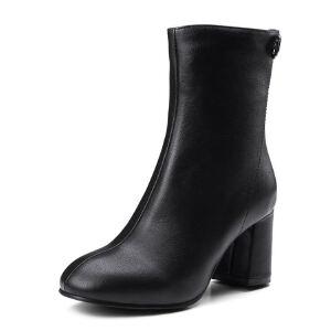 WARORWAR法国新品YG08-78-8冬季欧美粗跟高跟女士靴子切尔西靴短靴