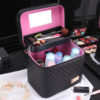 化妆包韩国手提化妆箱 大容量双层硬便携收纳包洗漱包手包 黑色 大号双层布格子