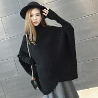大码蝙蝠衫潮妈孕妇装外套秋冬高领毛衣冬季厚上衣韩版宽松