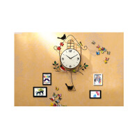 简约卧室静音个性小鸟挂表家用时钟 欧式装饰钟表创意挂钟客厅