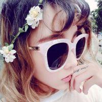 韩版方框炫彩膜反光太阳镜女1103个性墨镜潮 大理石纹v牌太阳眼镜