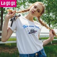【清仓3折价68.7】Lagogo/拉谷谷2019年夏季新款时尚学院风圆领短袖T恤HATT315Y02