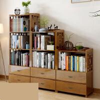 书架抽屉书柜简约现代书架落地简易书架客厅实木置物架储物柜o5y