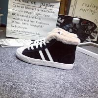 冬高帮加绒棉鞋女韩版ulzzang学生雪地靴两杠港风板鞋保暖二棉鞋