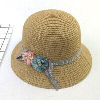 儿童草帽女童防晒遮阳盆帽韩版夏天花朵沙滩帽子 52-54