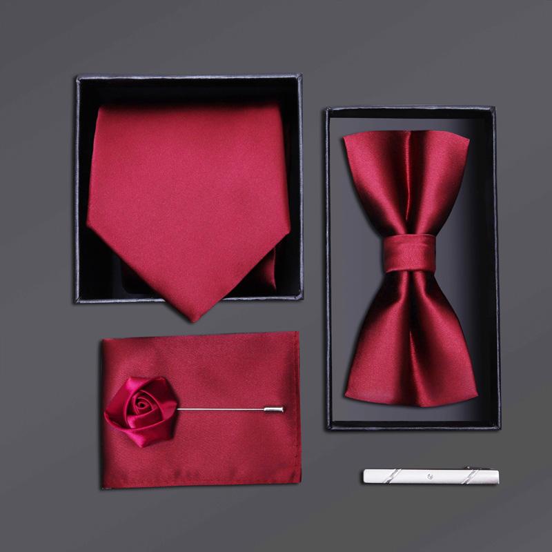 男士正装领带结婚新郎领结方巾酒红光面五件套礼盒装
