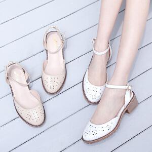 阿么2017秋季上新时尚镂空凉鞋女舒适粗跟中跟包头一字带女鞋韩版