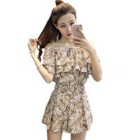 夏季新款韩版气质荷叶边露肩上衣+阔腿短裤时尚套装女洋气两件套