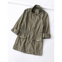 女装欧美春装新显瘦立领抽绳收腰可挽固定八分袖小风衣外套女