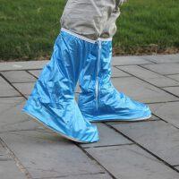 防雨鞋套男女下雨天雨靴子脚套防滑加厚耐磨高筒鞋套儿童防水 长筒鞋套蓝色