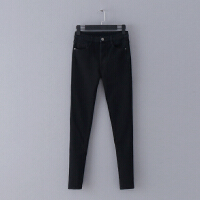 630 冬季新款纯色中腰加绒加厚修身小脚裤女式百搭牛仔裤