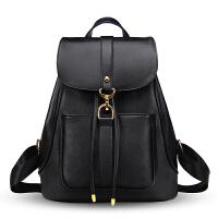 双肩包女2018新款韩版学生书包休闲学院风潮流时尚女士包旅行背包 魅力黑抽绳款 送手包