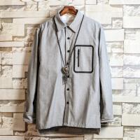 衬衫男长袖韩版学生潮流个性拼色上衣春秋季新款青年休闲衬衣