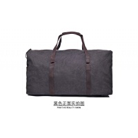 欧美旅行大容量手提包单肩斜跨 多功能行李包疯马皮帆布男包 黑色 61*33*26cm