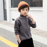 中大童男童卫衣加绒加厚打底衫秋冬儿童高领套头衫韩版潮洋气童装