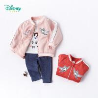 迪士尼Disney童装 女童外套卡通公主刺绣棒球服宝宝休闲运动摇粒绒上衣183S1064