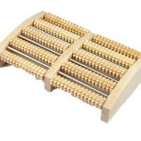 家用足底按摩器滚轮式腿部木质按摩穴位搓排木制脚底按摩器 红色
