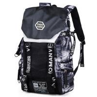 男新款电脑包户外登山大容量旅游包 时尚旅行男书包印花双肩包男潮流背包