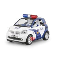 天鹰 仿真奔驰SMART警车合金车模型 儿童声光回力玩具车