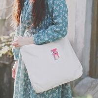 日韩糖果色小清新风帆布单肩包文艺复古范可爱多色马卡龙学生背包