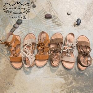玛菲玛图2018夏季新品交叉绑带真皮凉鞋女平底露趾复古厚底罗马鞋M198180882T5