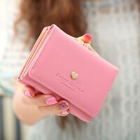 女士钱包女短款三折可爱女孩学生皮夹零钱包