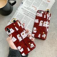 可爱猪年腕带苹果x手机壳酒红色本命年卡通iphonexs max创意女款保护套苹果6s/7p/8pl i6/6s 腕带