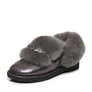 Tata/他她2017冬铜色牛皮拼接兔毛套脚方跟女皮靴16730DD7