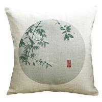 重磅棉麻新中式复古原创抱枕禅意沙发靠枕水墨荷花中风靠垫