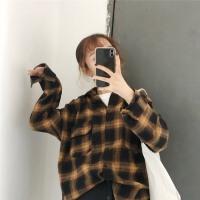 春装2018新款韩版复古黄格子长袖衬衫女宽松显瘦百搭拼色打底上衣