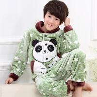 珊瑚绒儿童睡衣冬季加厚款加绒男孩中大童秋冬款男童法兰绒家居服
