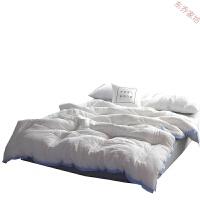 全棉水洗棉冬季棉被双人1.8m床双人宾馆被子被芯冬被花边春秋被 淡泊-黄边