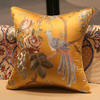 ???新款中式红木刺绣花红木实木沙发大靠包含芯床头靠垫背套抱枕定制