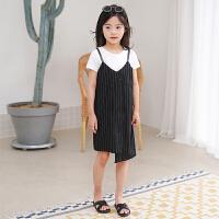 亲子装母女装连衣裙夏季显瘦黑白条纹纯棉吊带裙母女裙子