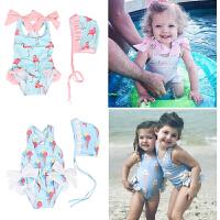 儿童泳衣女孩连体女童公主0-1-2-3岁幼婴儿宝宝游泳衣泳帽
