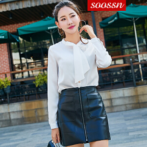 SOOSSN 2018秋装新款韩版白衬衫女长袖职业宽松上衣休闲打底衬衣百搭6102