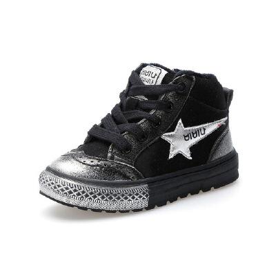 比比我童鞋男秋冬季儿童真皮运动鞋加绒休闲靴韩版百搭中童棉鞋