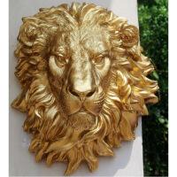 树脂工艺品 新款黄金狮子头挂壁家居装饰品 创意酒吧摆件 145 图片色 2232647*42*27