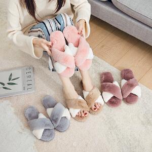 拖鞋女秋冬季室内居家开口一字棉拖鞋新款韩版卧室时尚毛毛拖鞋女
