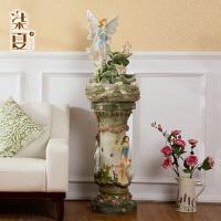 流水喷泉欧式摆件客厅奢华落地家居装饰品摆设 电视柜创意工艺品