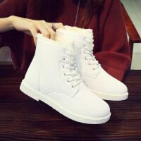 冬季新款学生冬鞋雪地靴女皮面防水靴子短靴加绒女鞋短筒棉鞋