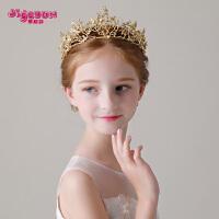 女孩女童皇冠演出配饰头花发卡金色发箍花童王冠儿童头饰公主发饰