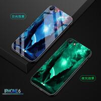 苹果6手机壳玻璃夜光个性创意iPhone6保护套防摔抖音同款