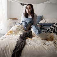 家纺四件套全棉韩式简约纯棉1.5米床单被套1.8m床上用品4件套