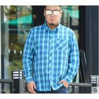 翻领时尚宽松纯棉格子衬衣大码男士长袖衬衫加肥加大男装潮胖子休闲