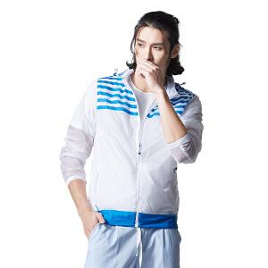 AIRTEX/亚特 可收纳立领帽 清新条纹皮肤衣情侣男款 英国时尚户外