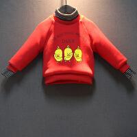 男童高领加绒加厚卫衣儿童冬装纯棉上衣假两件小黄鸭童装 红色 建议选大1码