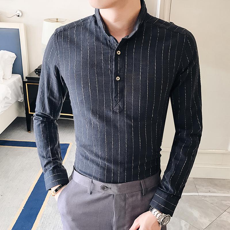 男士春秋季休闲条纹长袖衬衫修身立领青年衬衣潮寸衫男装