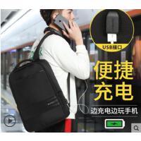 新款男士时尚双肩包USB充电男包旅行 学生书包休闲商务双肩电脑包男士背包