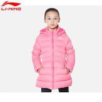 李宁童装运动时尚秋冬季女童舒适保暖连帽中长款运动服外套